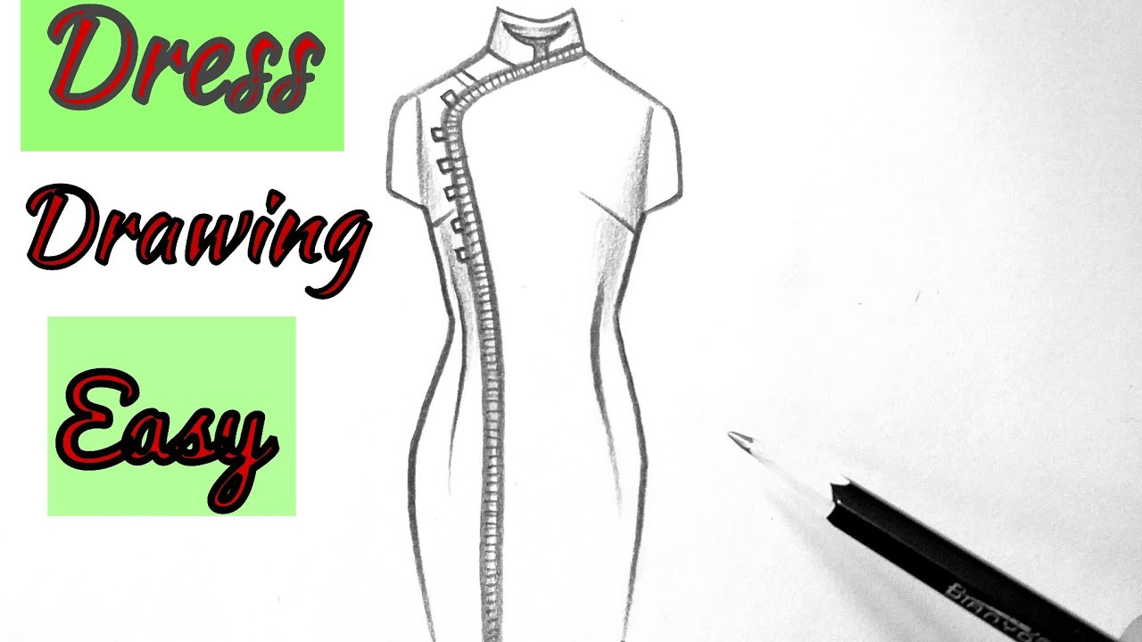 How to draw a beautiful girl dress drawing design easy for beginners drawing clothes(outfits)designs