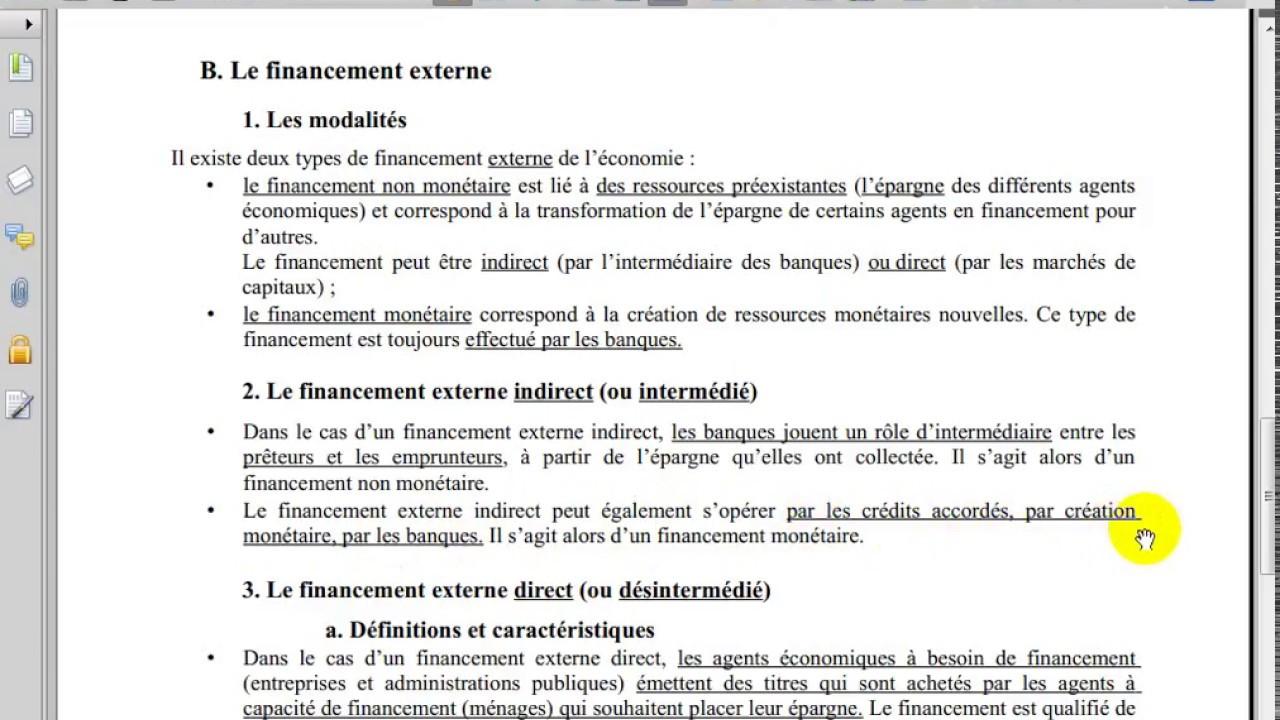 Introduction A L Economie S1 Le Financement Youtube