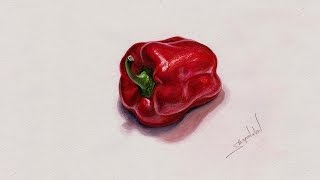 Drawing Realistic Pepper by Watercolor - Как нарисовать реалистичный перец акварелью
