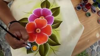 Tutorial de pintura textil, aplicación de fondo como pintar hoja y flor.