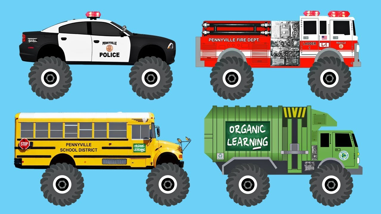 Learn 50 AWESOME Monster Trucks - Organic Learning (Fun ... on police vehicles being repaired, police lights for golf cart, police tow truck,