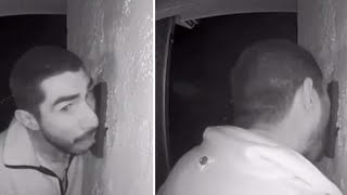 Man Caught on Video Licking Doorbell for Hours