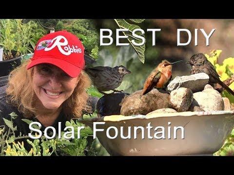 EASY-How To Make The BEST CHEAP Hummingbird Bird Bath DIY Solar Water Fountain Garden For $1 Nature