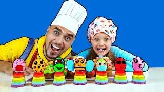 Colorear huevos de Pascua con Nastya the First y M&M Candy| B2cutecupcakes