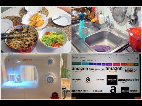 """يوميات إمرأة """"كالسة في الدار"""" : أسرار أمازون تنظيف المطبخ ماكينة الخياطة و عشاء  English Subtitles"""