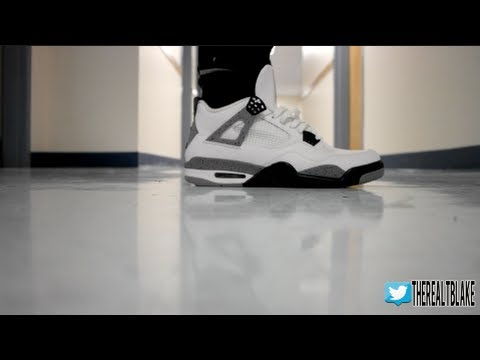 641176e4 Jordan 4 (IV) On Feet | White Cement - YouTube