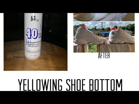 How to clean yellowing bottom on shoes