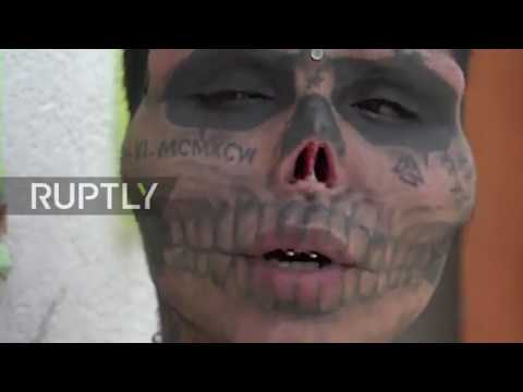 64c3f471a Skull-eton! Man CUT OFF nose and ears, tattooed face to resemble skull