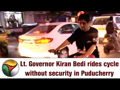 Lt. Governor Kiran Bedi rides cycle without security in Puducherry