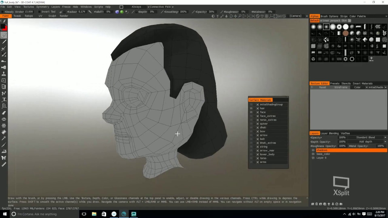 Texture painting in 3D Coat p2 Painting hair and face YouTube