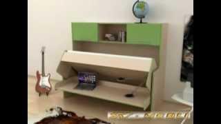 Стол кровать трансформер видео(Стол-кровать трансформер. На двух квадратных метрах площади удобно размещается письменный стол и односпал..., 2011-11-07T12:11:03.000Z)