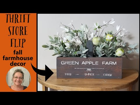 Thrift Store Flip Farmhouse Decor~Getting Ready For Fall Collab~Farmhouse Crate Makeover