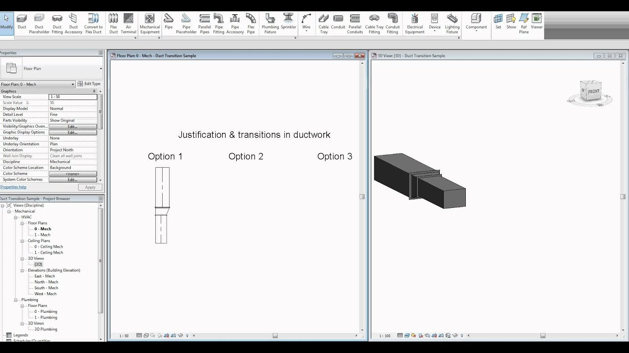 Revit MEP 2012 - Duct justification & transitions