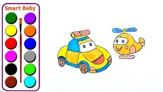 A guide for drawing and coloring police cars for your baby