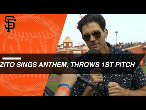 Barry Zito sings the anthem, throws out first pitch