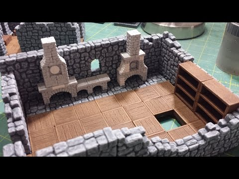 Modular Inn with Hirst Arts Molds Part 12 - Stairs, Wall Blockers, Pillars and Fireplaces