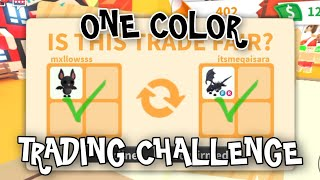 roblox: ONE COLOR TRADING CHALLENGE WITH RANDOM PLAYERS IN ADOPT ME!