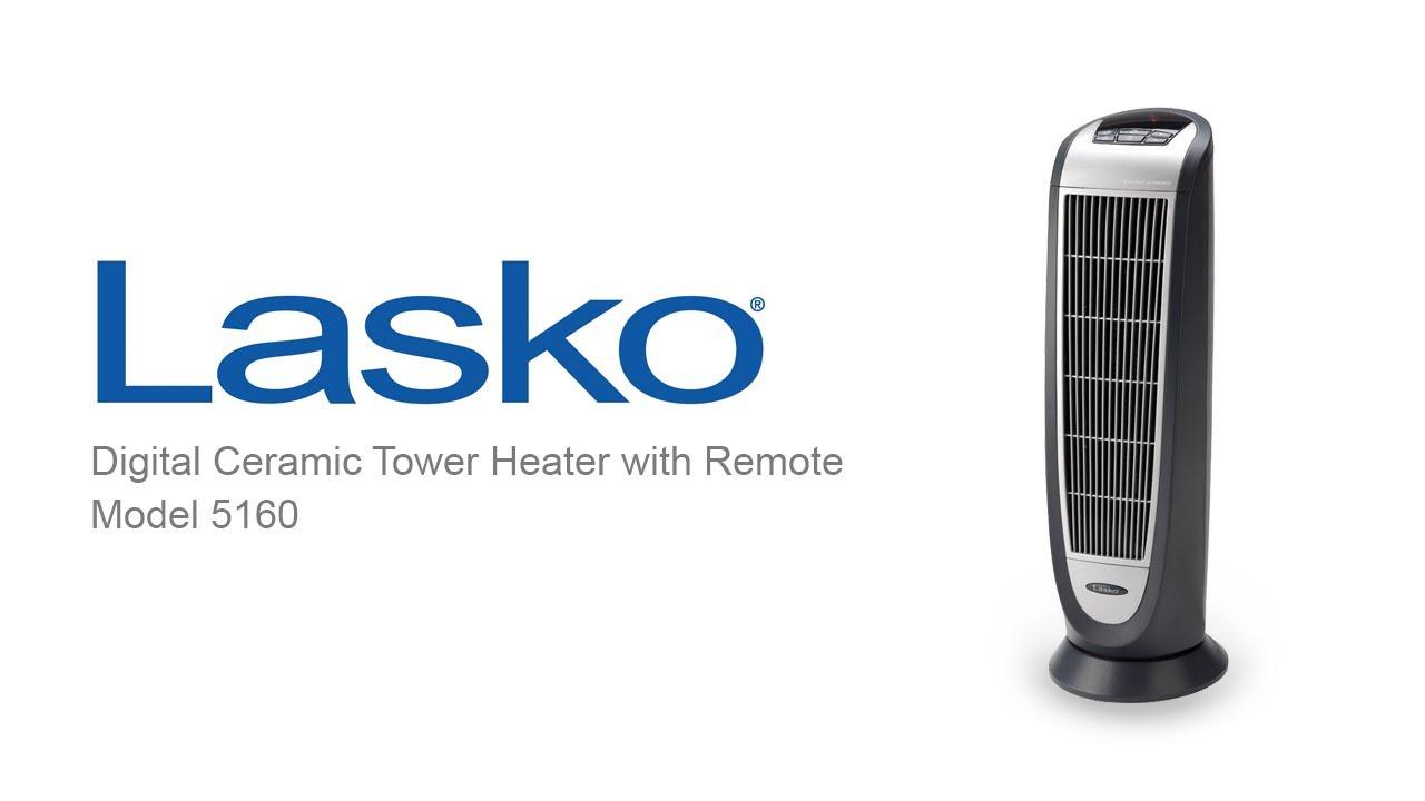 Lasko Digital Ceramic Tower Heater With Remote Control Model 5160 Youtube