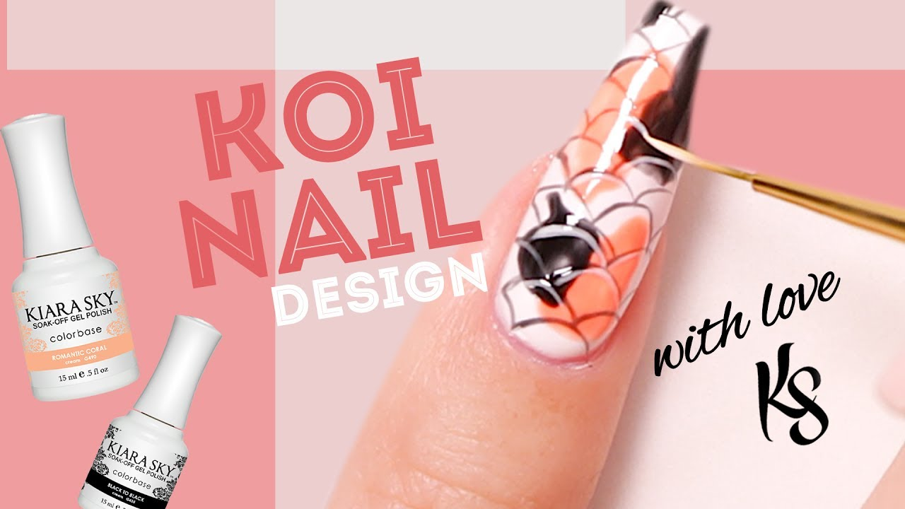 Koi Fish Nail Art Tutorial Featuring Red Iguana - YouTube