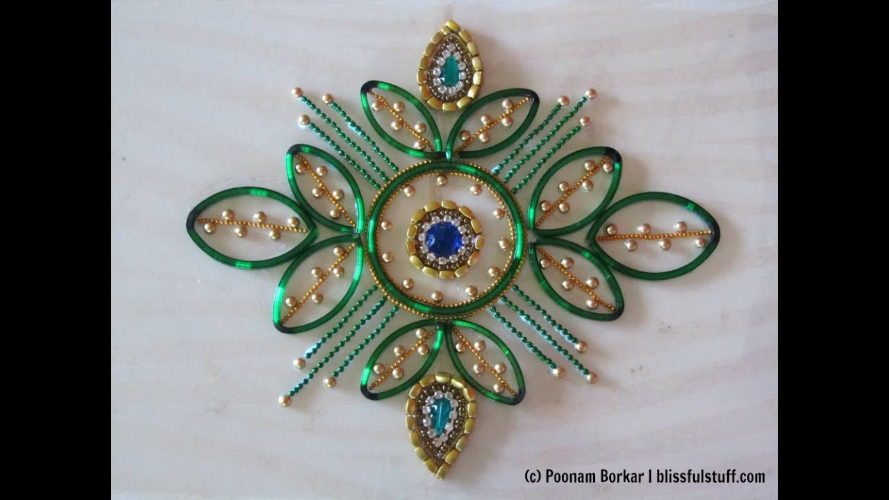 Diy kundan rangoli using broken bangles best out of for Simple craft work using waste materials