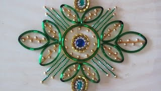 DIY - Kundan rangoli using broken bangle...