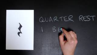 More note values: Eighth note, dotted quarter note, quarter rest, half rest and whole rest