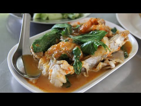 Delicious Southern Thai Food. Eating Thai Food in Satun Thailand.