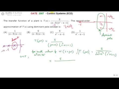 GATE 2007 ECE Dominant pole approximation of given tranfer ...