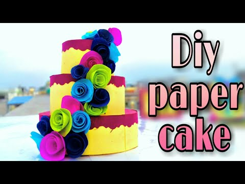how to make paper cake ; how to make cake box ; diy paper cake box with rose for birthday