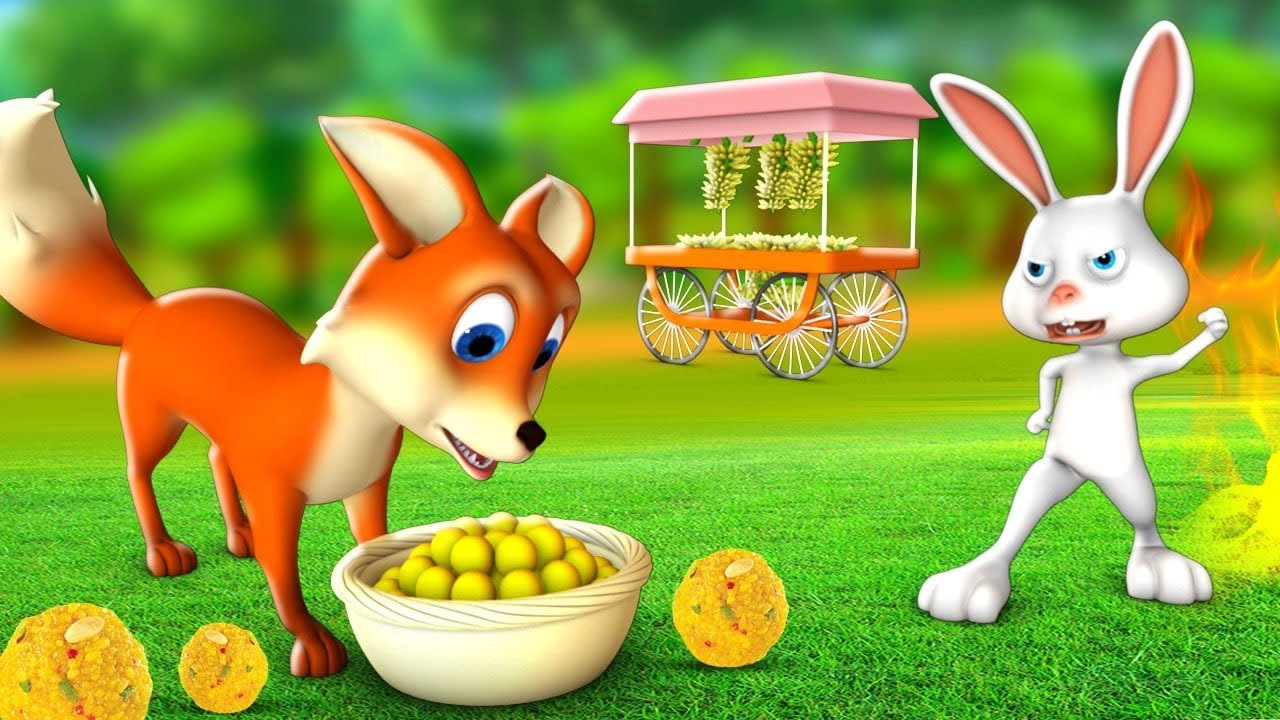 लालची लोमड़ी चतुर खरगोश - Greedy Friend Fox Clever Rabbit 3D Animated Hindi Moral Stories | JOJOTV