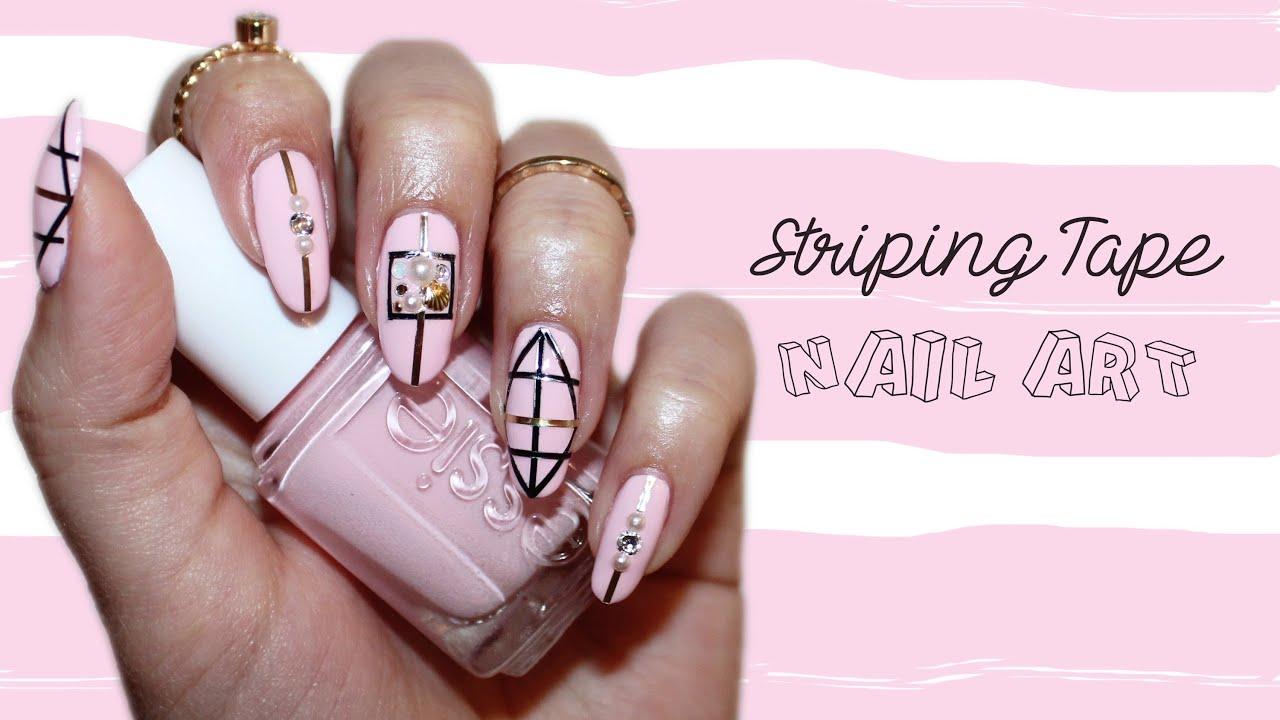 Spring nails geometric striping tape nail art youtube prinsesfo Choice Image