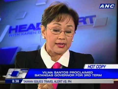 Vilma Santos-Recto proclaimed Batangas governor for 3rd term