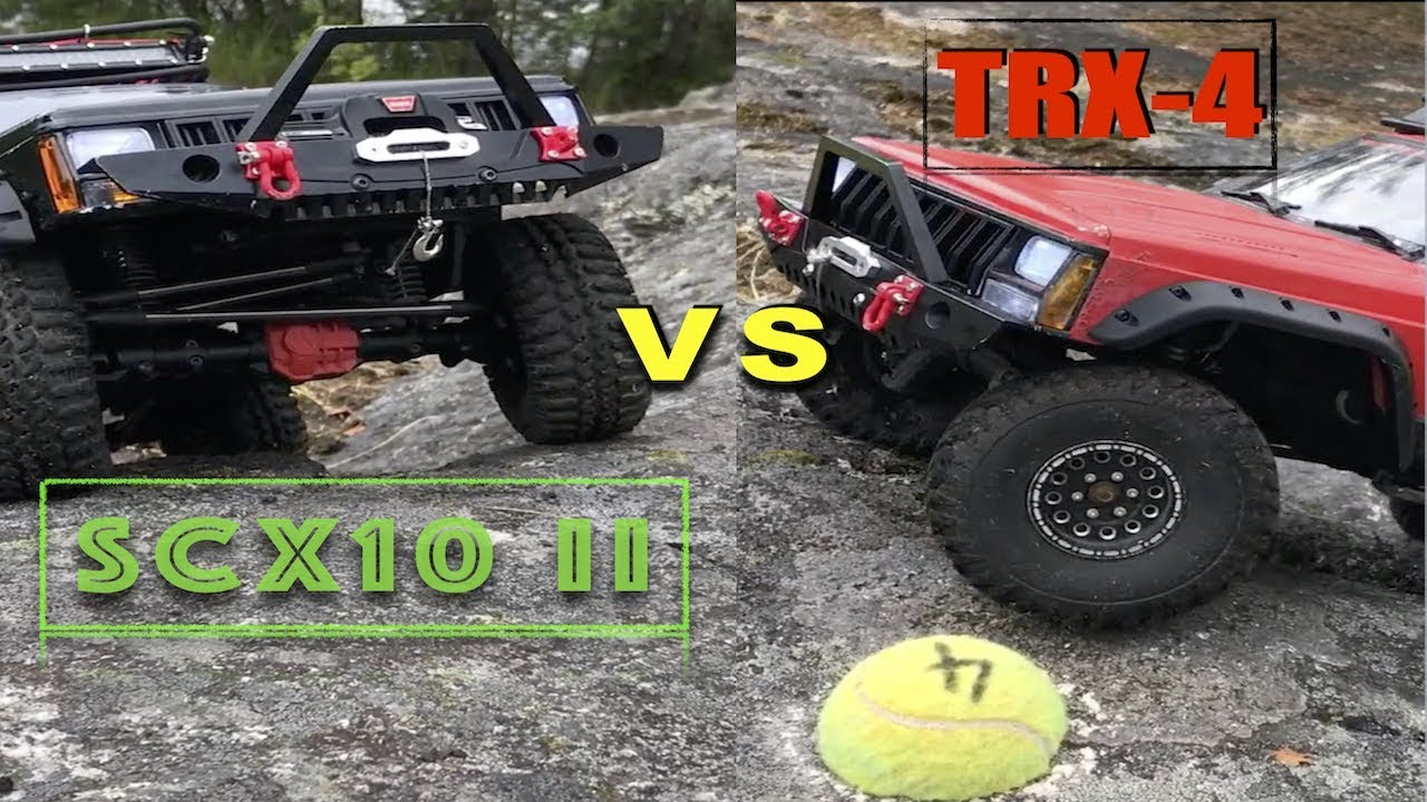 TRAXXAS TRX-4 VS AXIAL SCX10 II Jeep Cherokee XJ crawling competition