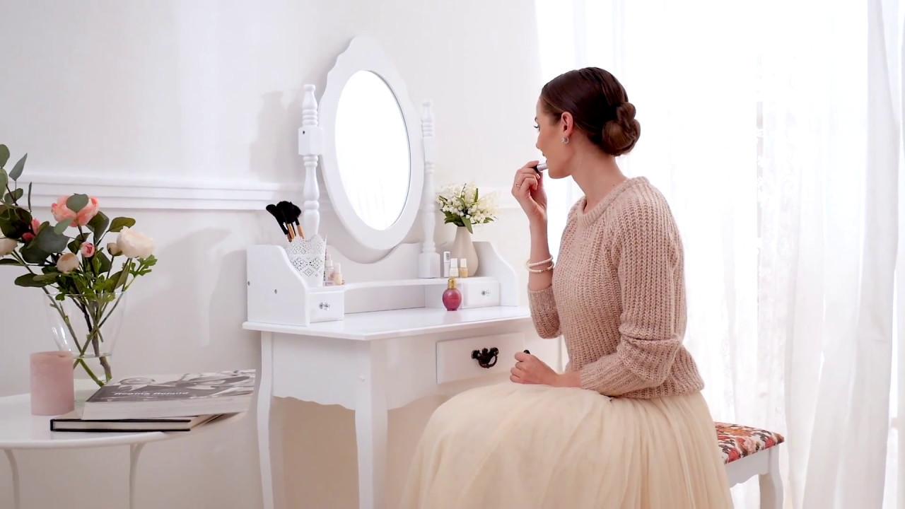 Tavolino da trucco toeletta con specchio e sgabello effetto e