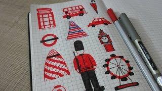 How to Draw London Big Ben, London Eye, London Bus, Queen
