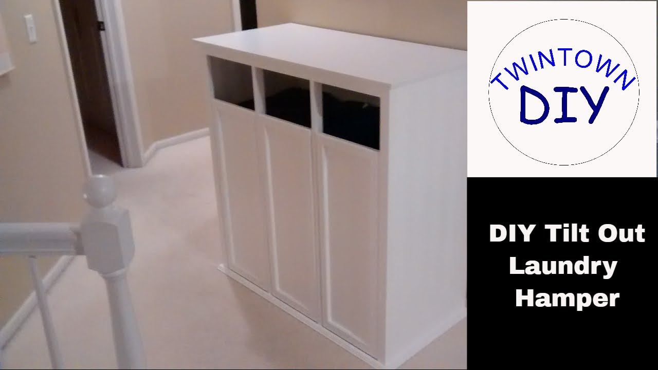 DIY Tilt Out Laundry Hamper Cabinet