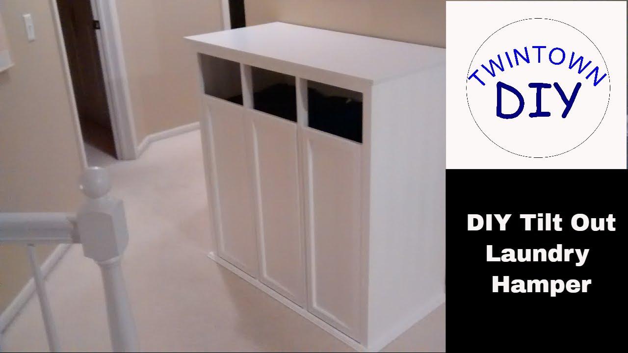 DIY Tilt Out Laundry Hamper Cabinet - YouTube