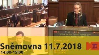 Sněmovna 11.7.2018 (2/6) - Důvěra vládě 14h-15h