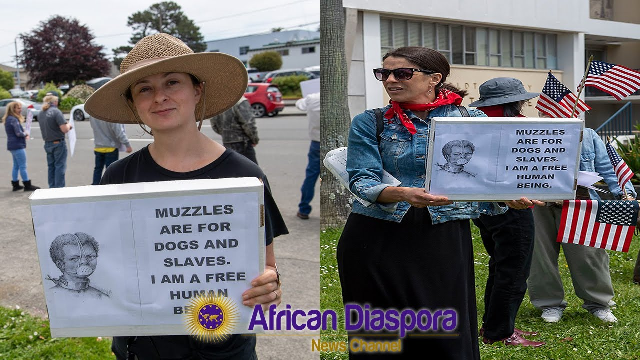 California Karens Hold Signs At Protest Implying Slaves & Dogs Are To Be Muzzled