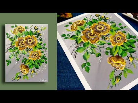 How to Paint Yellow Flowers - Quick and EASY Steps - Acrylic Painting for Beginners - Artworks