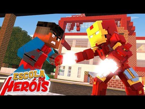 Minecraft: HOMEM ARANHA VS HOMEM DE FERRO #06 ( ESCOLA DE HERÓIS 2 )