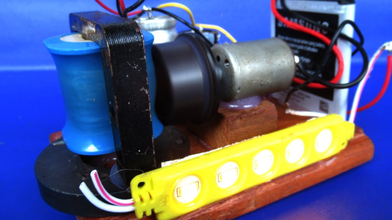 electric free energy motor generator and capacitor very easy diy experiments test with light bulb [ 1280 x 720 Pixel ]