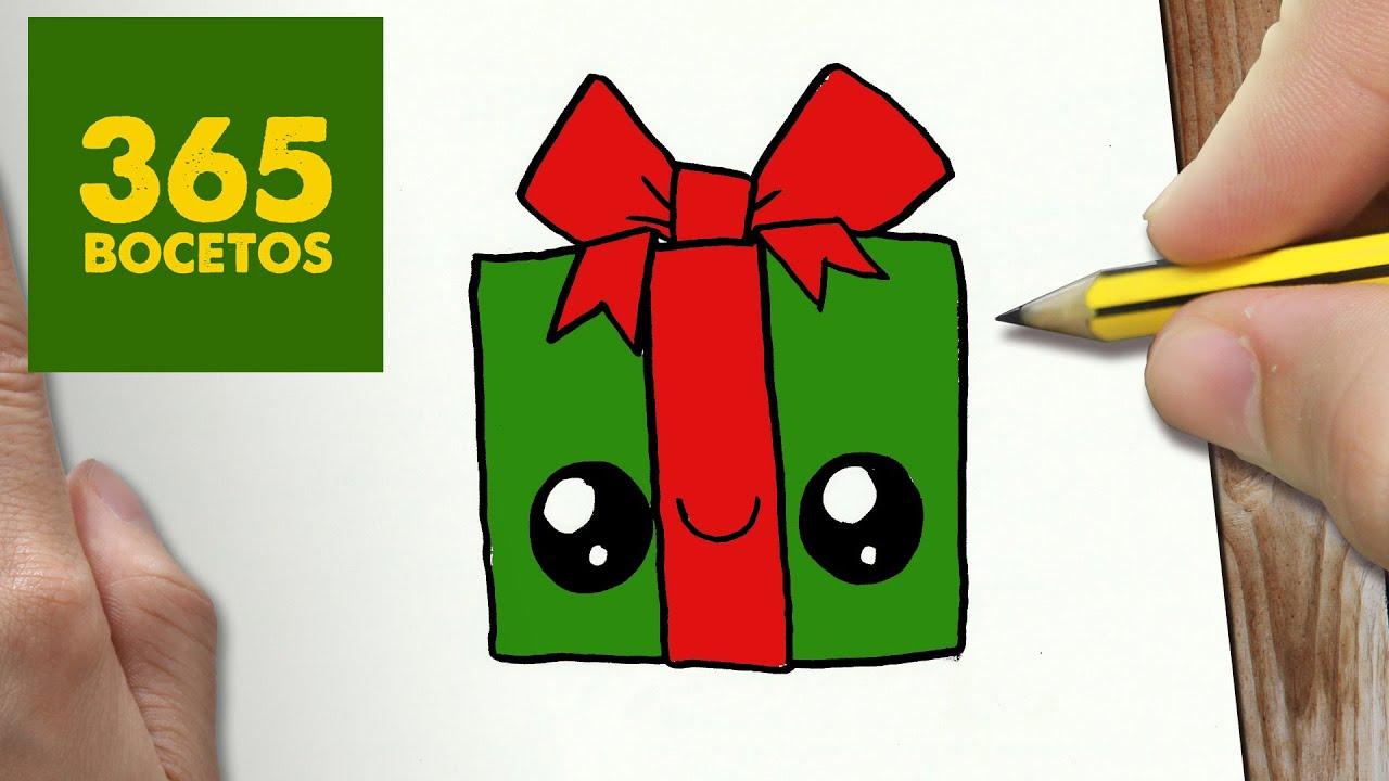 como dibujar un regalo para navidad paso a paso dibujos kawaii navideos how to draw a gift youtube