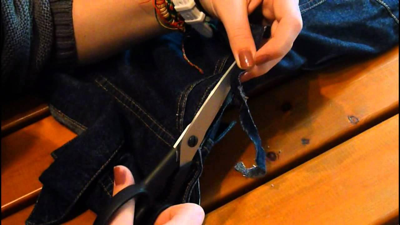 diy jeansjacke zur jeansweste fransen shirt youtube. Black Bedroom Furniture Sets. Home Design Ideas