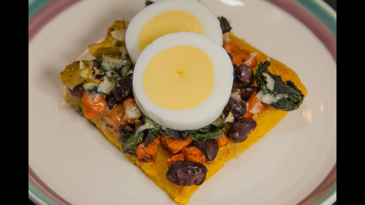 Polenta Crust Breakfast Pizza with Sweet Potatoes, Kale  Black