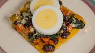 Polenta Crust Breakfast Pizza with Sweet Potatoes, Kale & Black Beans (Low salt!)