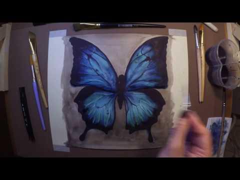 Рисуем бабочку «Butterfly» Timelapse video
