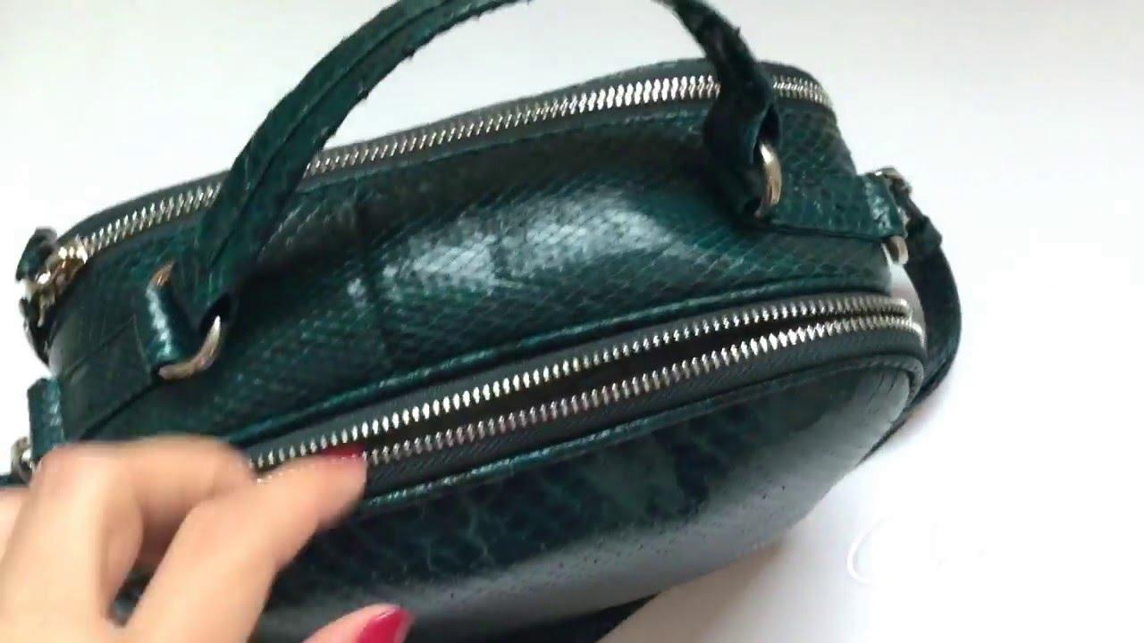 Видеообзор женской сумки-саквояжа лаковой Камелия - YouTube