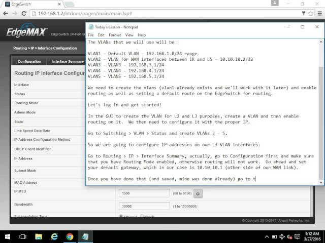 EdgeSwitch Configuration - VLANs, VLAN Routing, Routing - Part 1