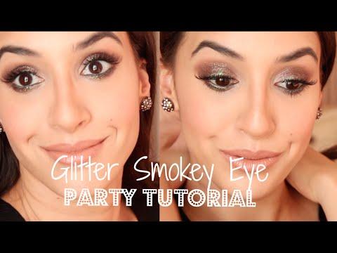 New Years Eve Makeup Tutorial / Glitter Smokey Eye / Maquillage de fêtes facile